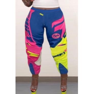 Lovely Sportswear Patchwork Multicolor Plus Size Pants