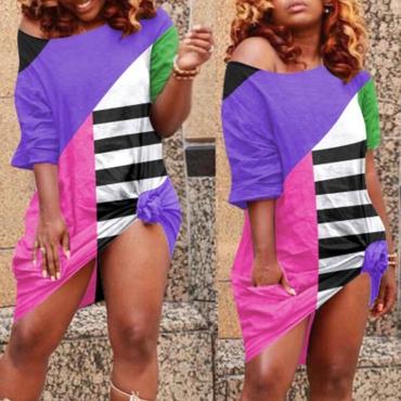 lovely Leisure Color-lump Patchwork Purple Knee Length Dress