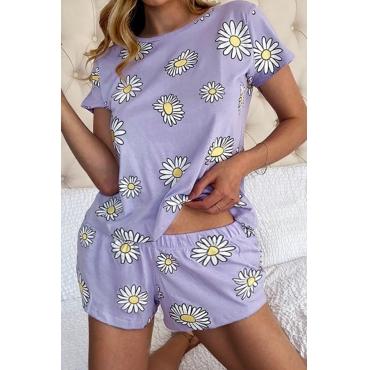 lovely Casual Floral Print Purple Plus Size Sleepwear