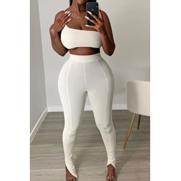 lovely Casual One Shoulder White Two-piece Pants Set