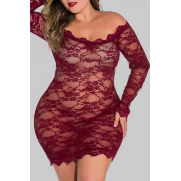 lovely Sexy See-through Red Plus Size Teddies