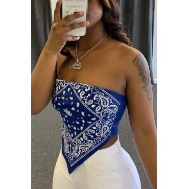 Lovely Sexy Print Blue Plus Size Camisole