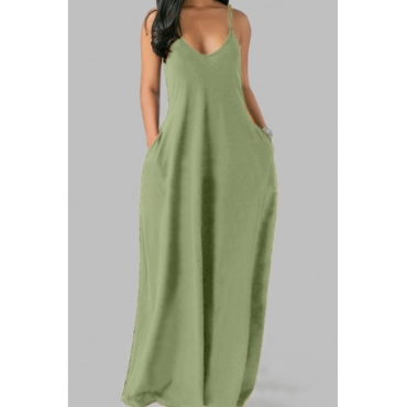 Lovely Leisure Pocket Patched Light Green Maxi Plus Size Dress
