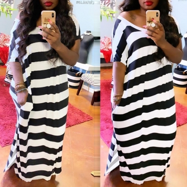 lovely Chic Striped Black Maxi Dress