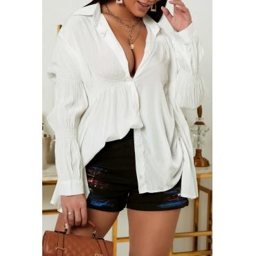 lovely Trendy Fold Design White Blouse