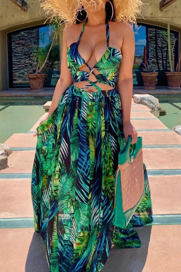 Lovely Sexy Halter Neck Hollow-out Green Maxi Dress фото