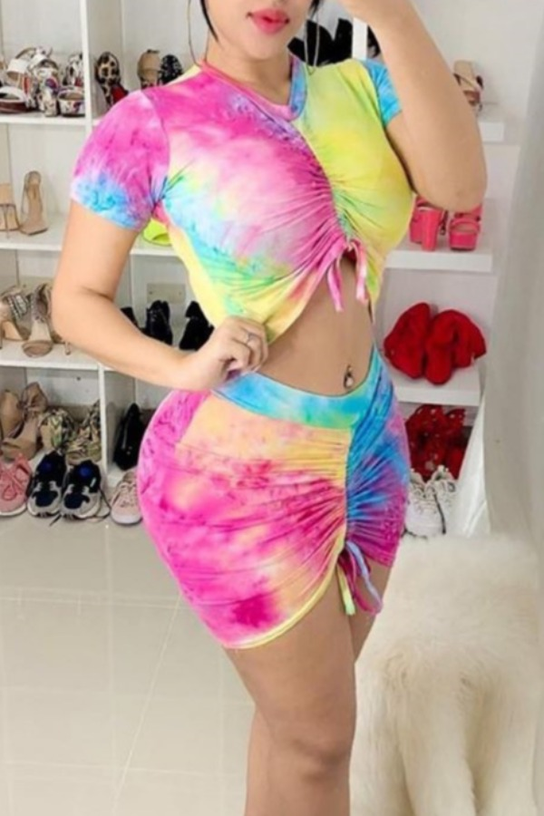 lovely Casual Tie-dye Print Pink Two-piece Skirt Set