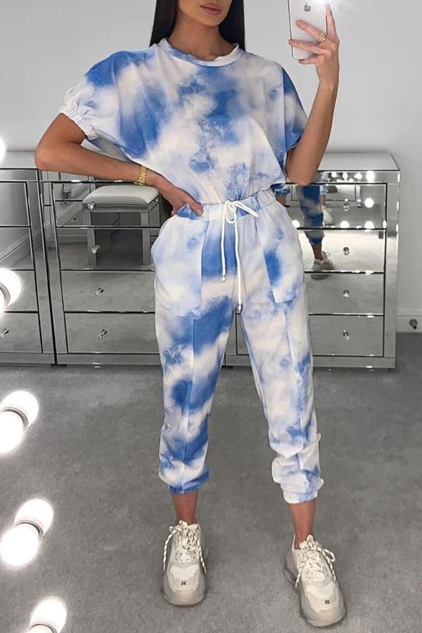 lovely Casual Tie-dye Blue Two-piece Pants Set