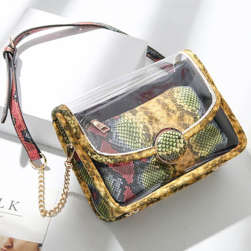 Messenger Bag&Crossbody Bag lovely Stylish Print See-through Patchwork Yellow Messenger Bag фото