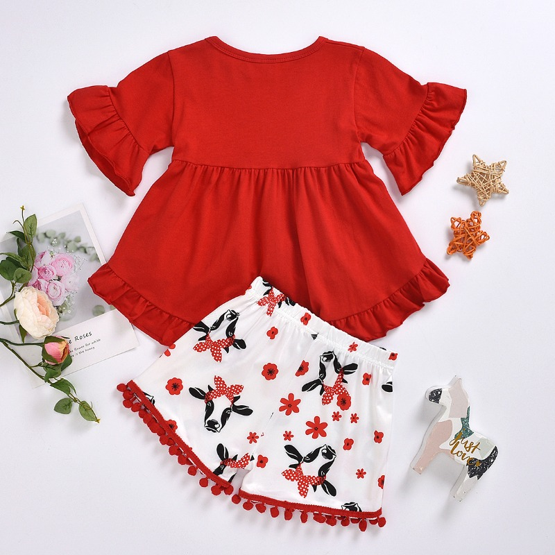 lovely Sweet Print Red Girl Two-piece Shorts Set