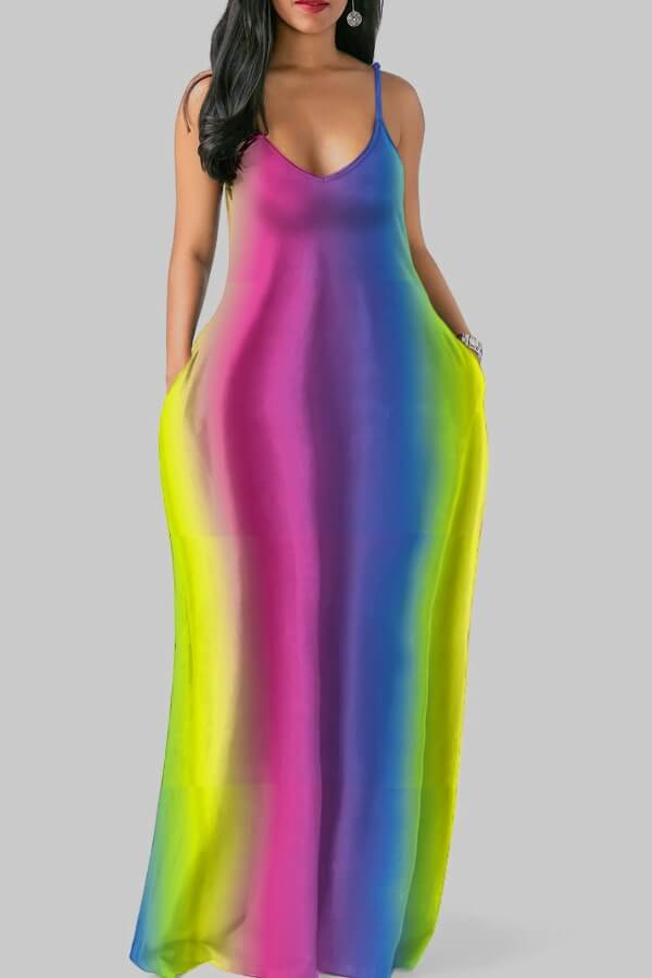 Lovely Casual Striped Multicolor Maxi Plus Size Dress