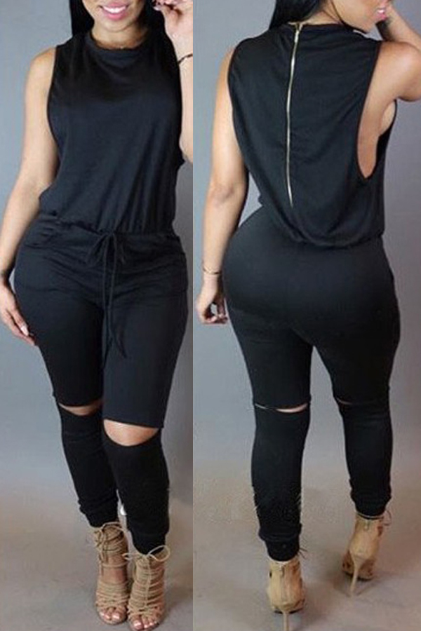 Jumpsuits Lovely Casual Hollow-out Black One-piece Jumpsuit фото