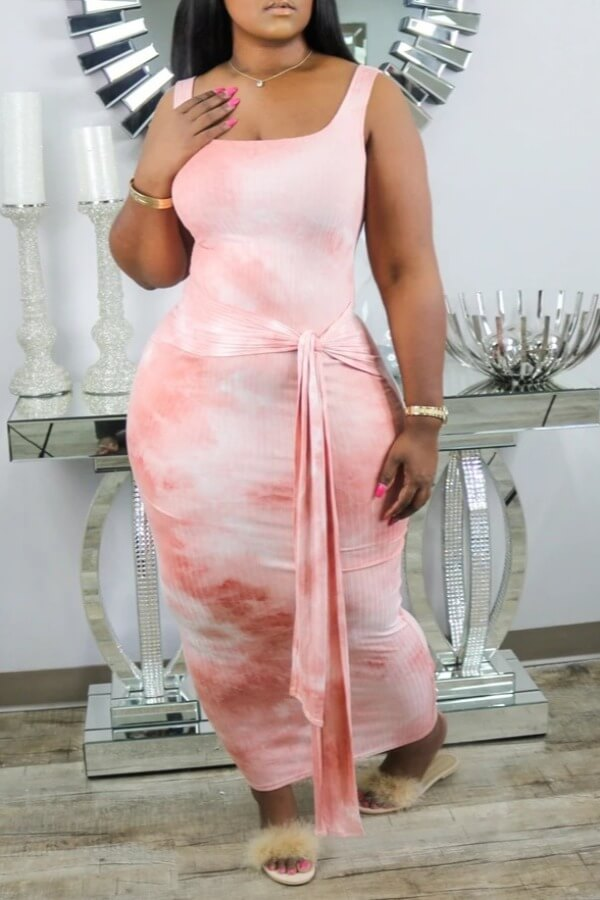 Lovely Casual Tie-dye Print Pink Mid Calf Dress фото