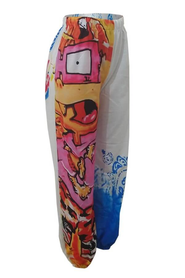 lovely Street Print Patchwork Multicolor Pants