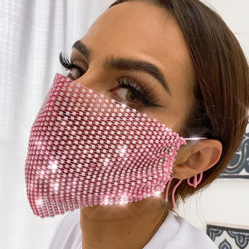 Lovely Sweet Sequined Pink Face Mask