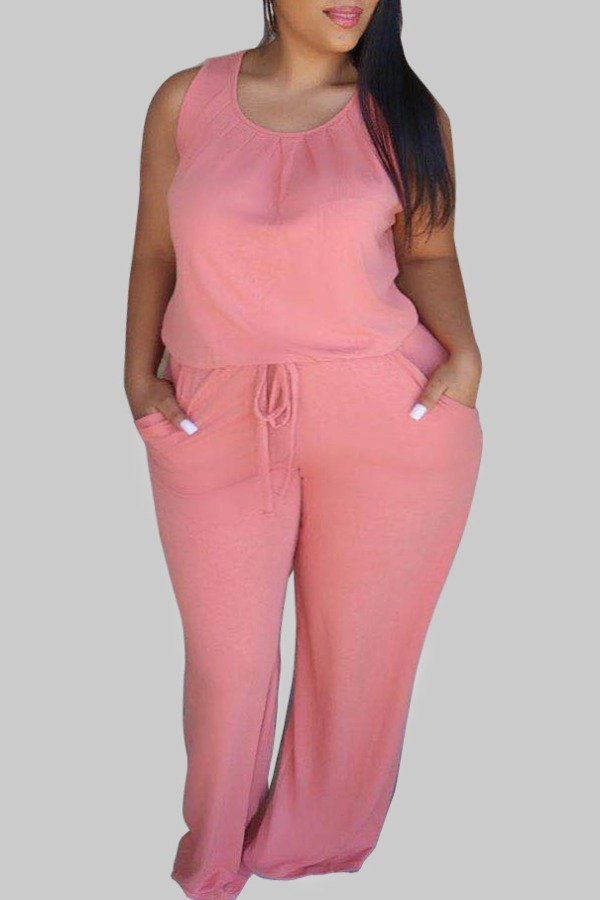 Plus Size Jumpsuit lovely Casual O Neck Pink Plus Size One-piece Jumpsuit фото