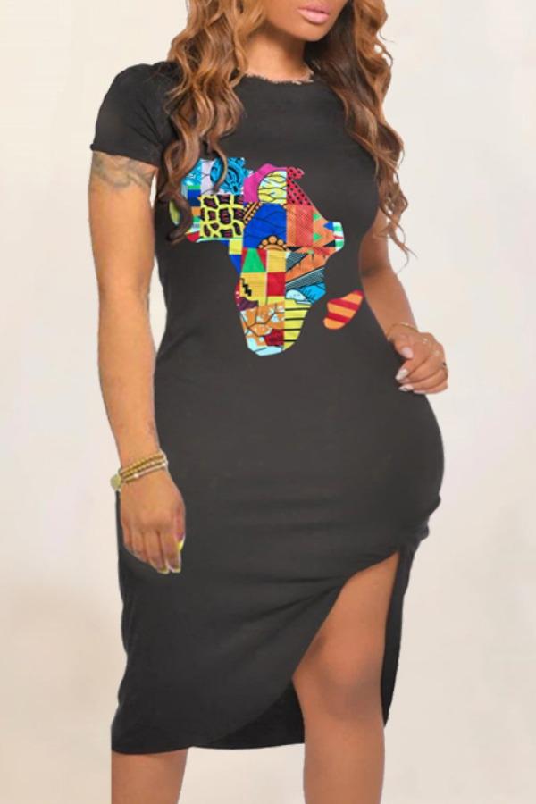 Plus Size Dress lovely Casual O Neck Print Black Knee Length T-shirt Dress фото