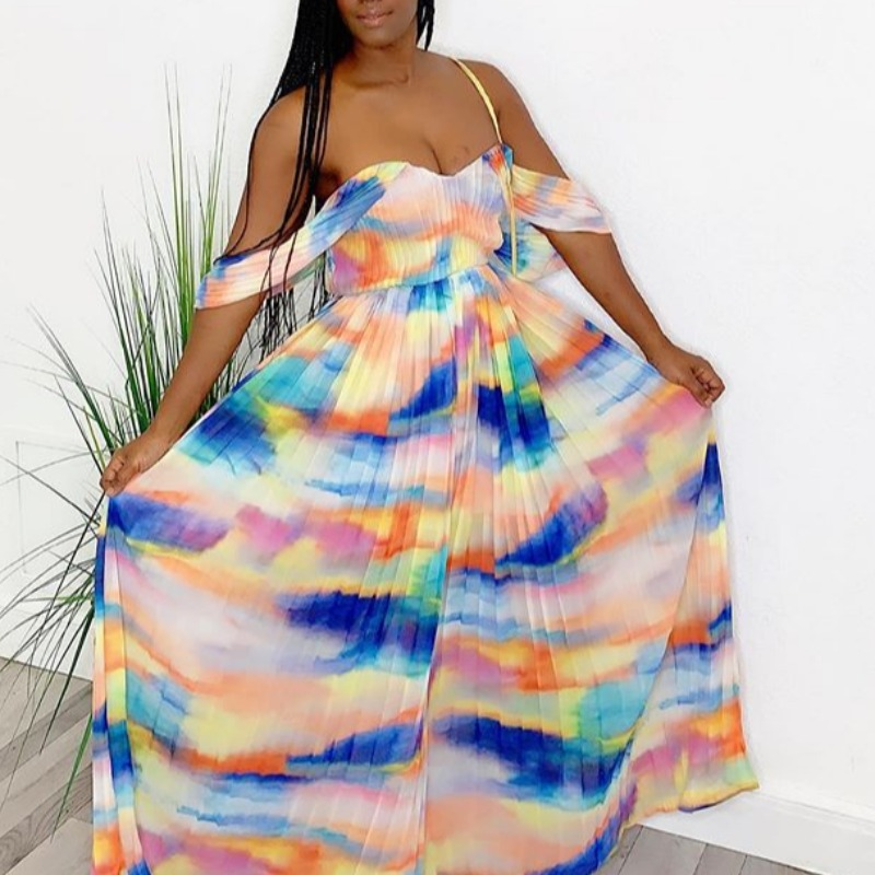 Plus Size Dress lovely Sexy Off The Shoulder Print Multicolor Maxi Dress фото