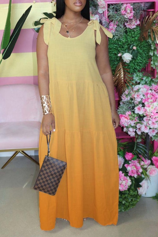 Lovely Bohemian Lace-up Loose Yellow Maxi Dress фото