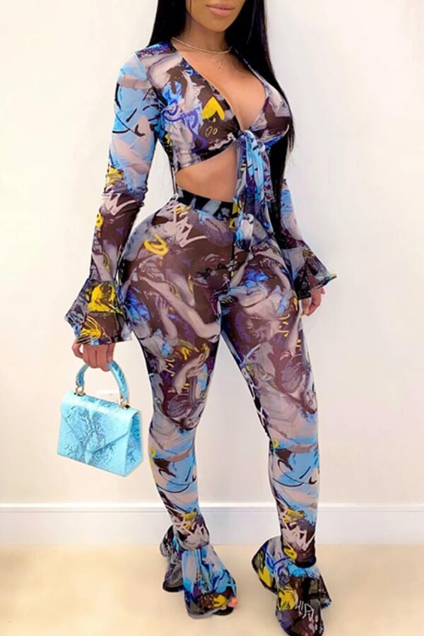 Lovely Sexy Print Blue Two-piece Pants Set фото