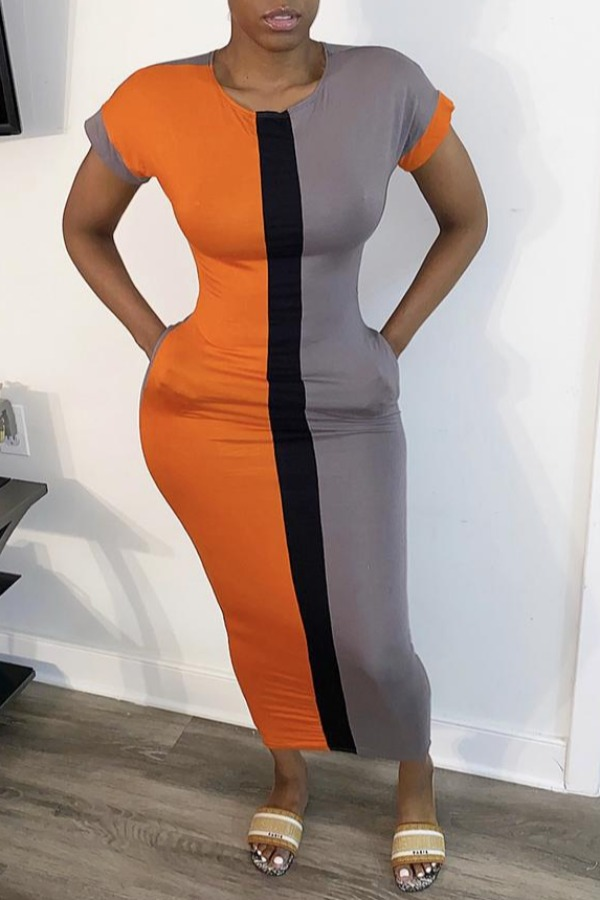 Lovely Casual Patchwork Orange Ankle Length Dress фото