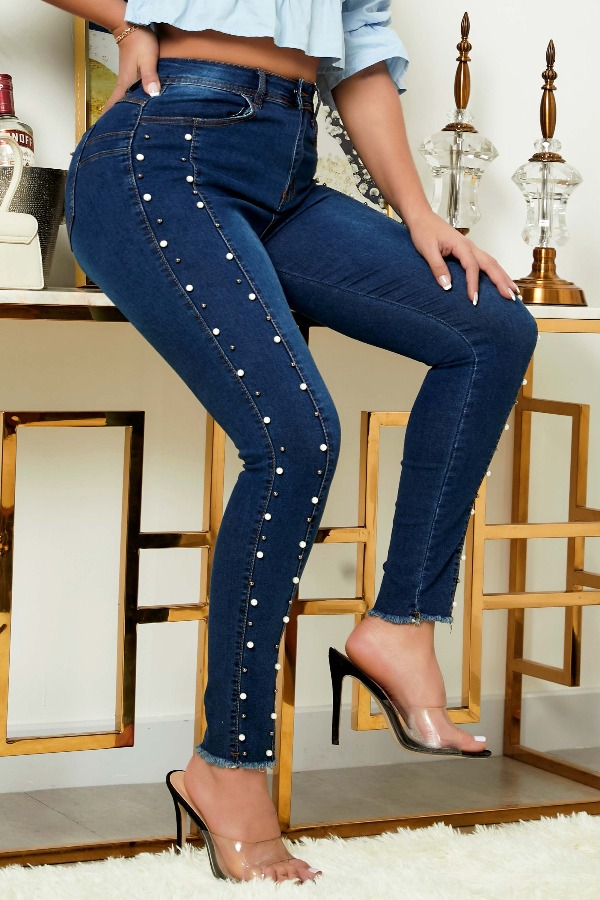 Lovely Casual Pearl Decoration Blue Jeans фото