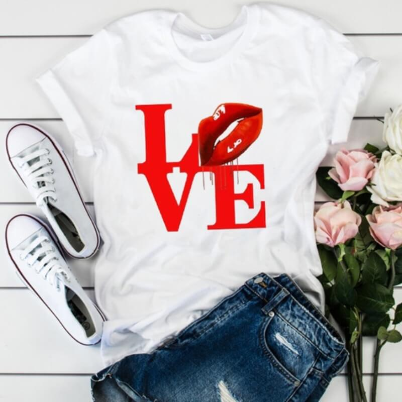 Lovely Leisure O Neck Letter Print Bright Red Plus Size T-shirt
