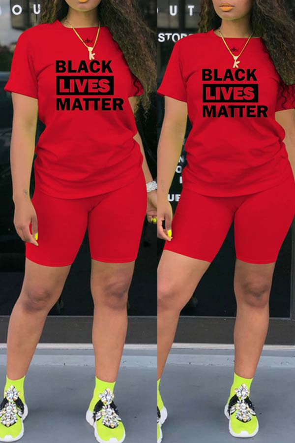 Lovely Leisure Letter Print Red Plus Size Two-piece Shorts Set фото