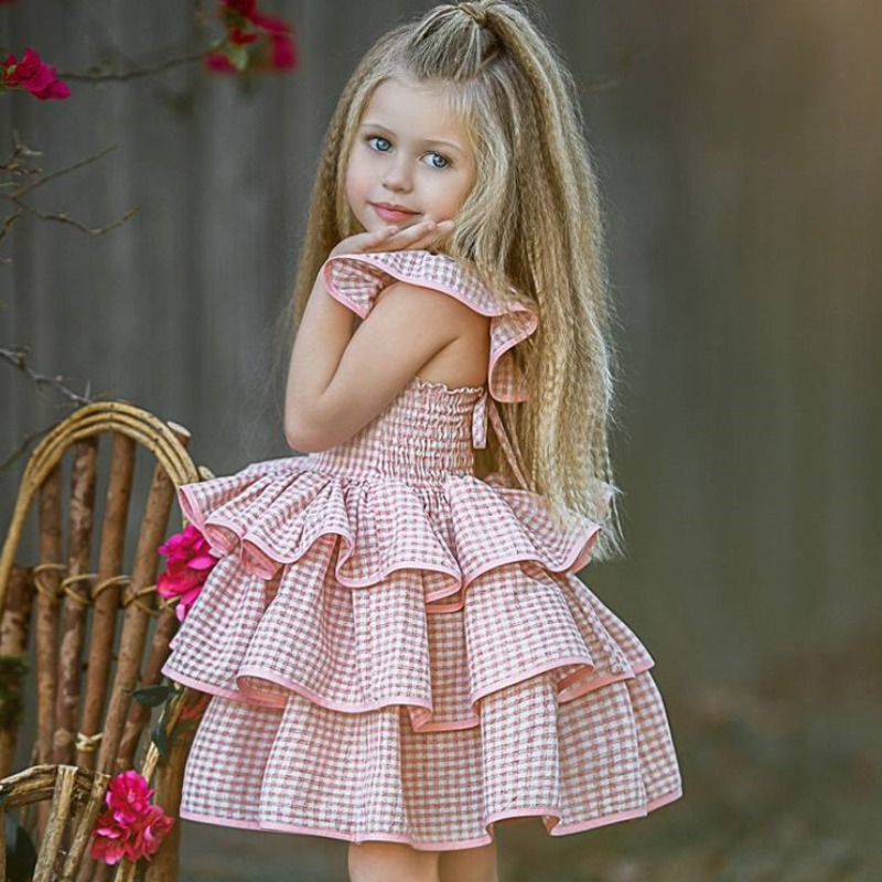 Girls Dress lovely Sweet Layered Cascading Ruffle Pink Girl Knee Length Dress фото
