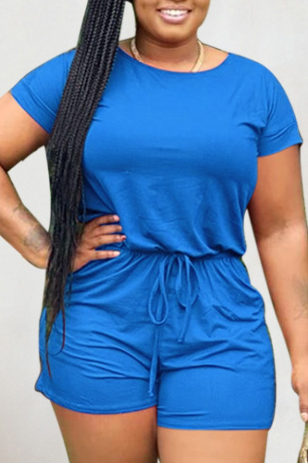 Rompers lovely Leisure Lace-up Blue One-piece Romper фото
