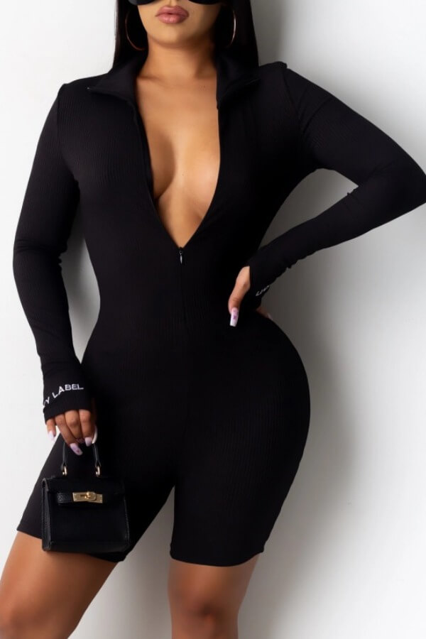 Rompers Lovely Sexy Deep V Neck Black One-piece Romper фото