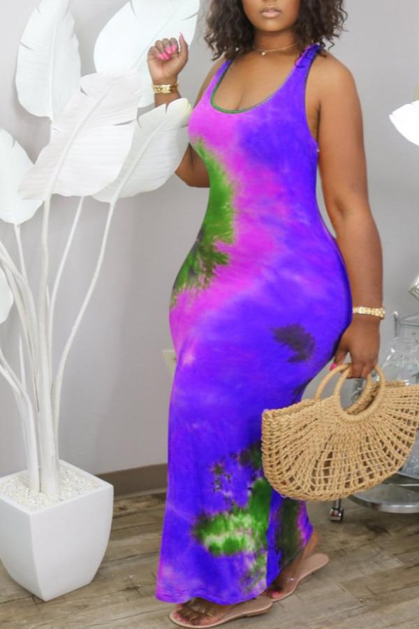Lovely Leisure U Neck Tie-dye Purple Ankle Length Plus Size Dress фото