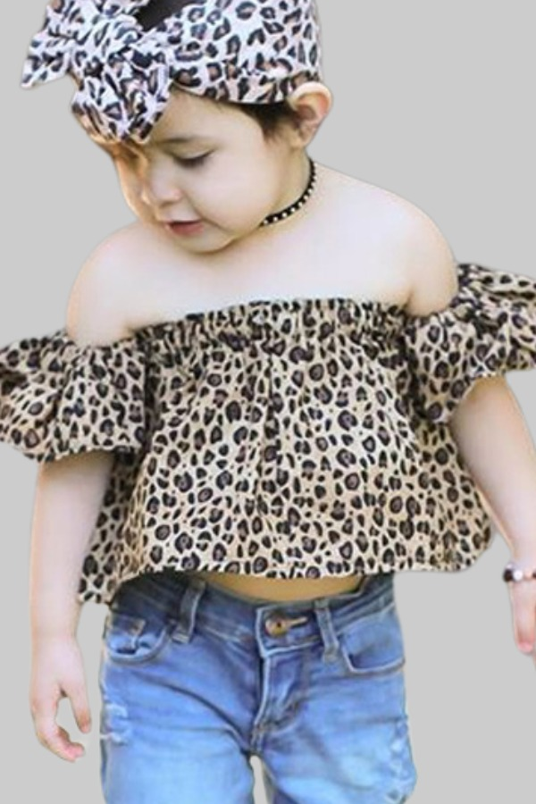 Girls Two-piece Pants Set lovely Casual Off The Shoulder Leopard Print Girl Two-piece Pants Set фото