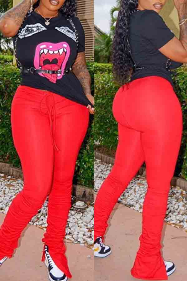 Lovely Leisure Lip Print Red Two-piece Pants Set фото