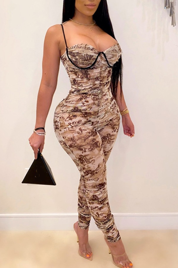 Lovely Trendy Print Brown One-piece Jumpsuit фото