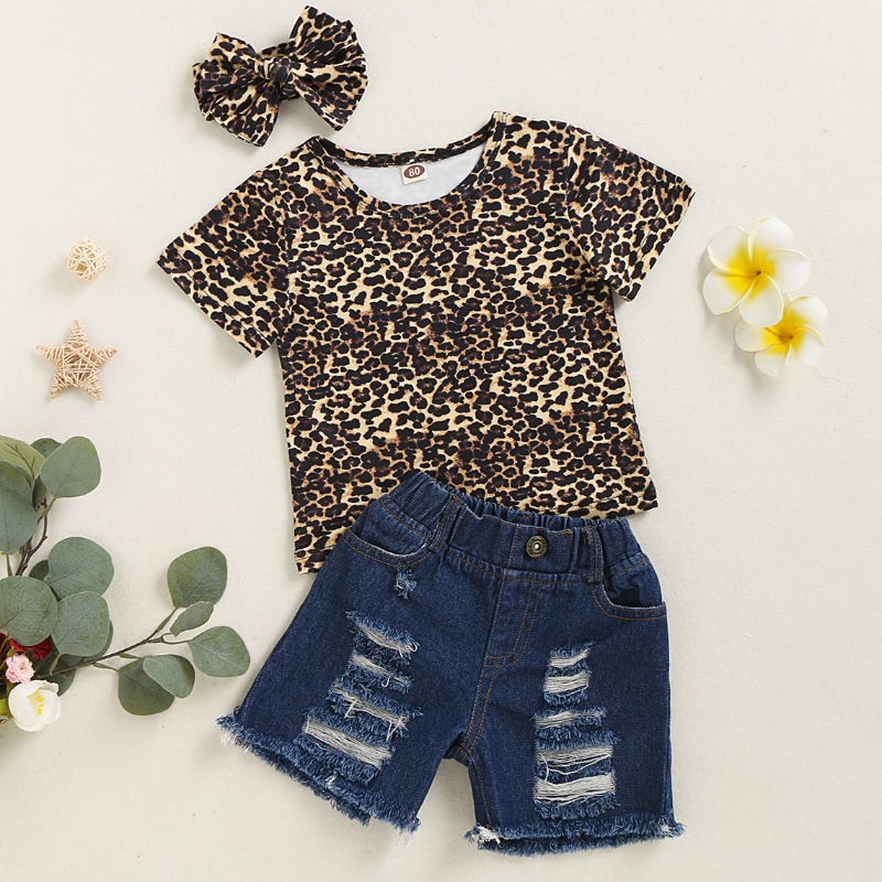 Girls Two-piece Shorts Set lovely Trendy Leopard Print Girl Two-piece Shorts Set фото