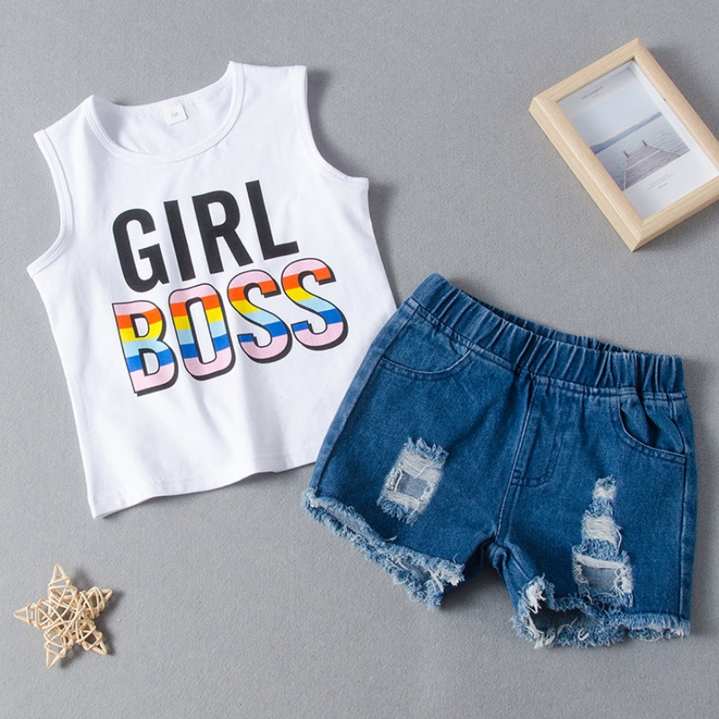 Girls Two-piece Shorts Set lovely Casual Letter Print White Girl Two-piece Shorts Set фото