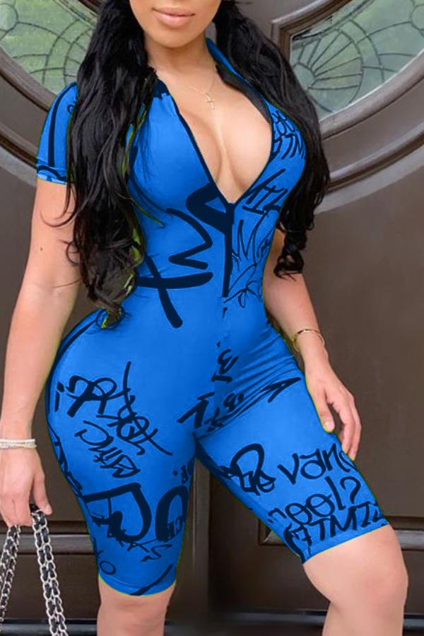 Rompers Lovely Street Letter Print Blue One-piece Romper фото