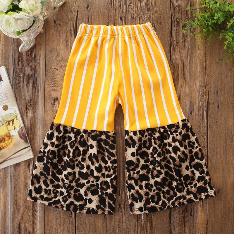 lovely Trendy Striped Patchwork Yellow Girl Pants