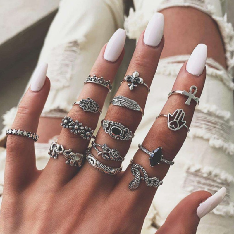 Lovely Trendy 14-piece Silver Ring фото