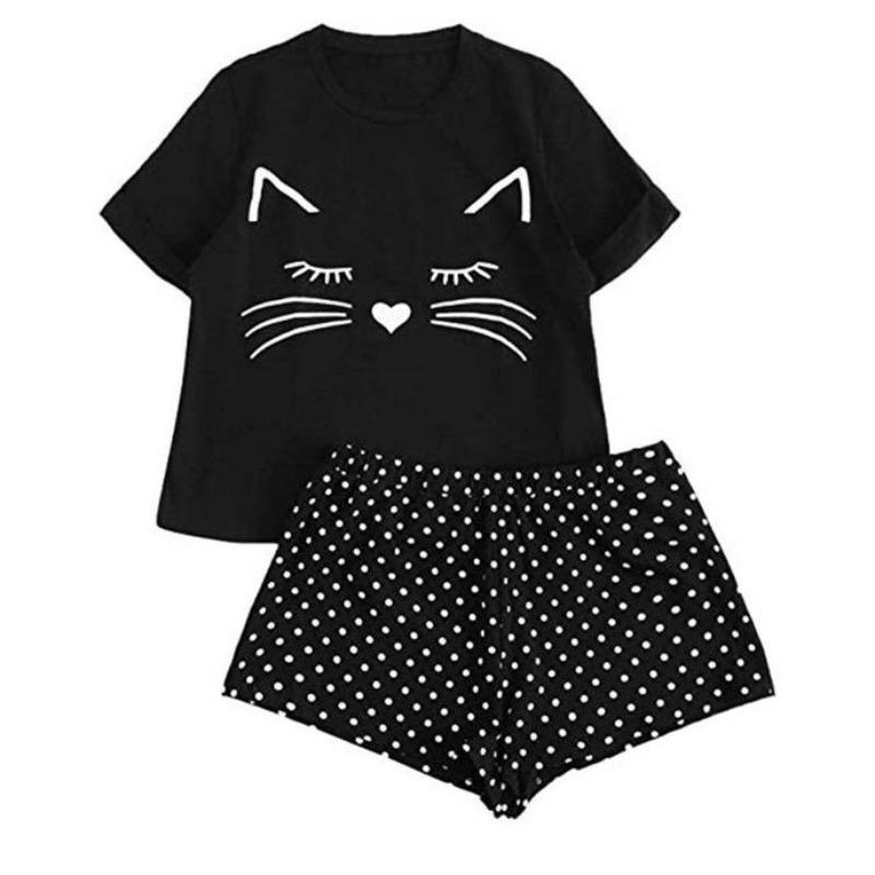 Lovely Casual Print Black Loungewear фото