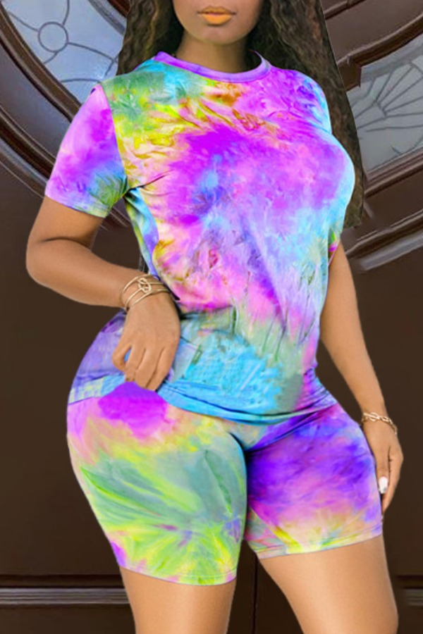 Lovely Casual O Neck Tie-dye Purple Plus Size Two-piece Shorts Set