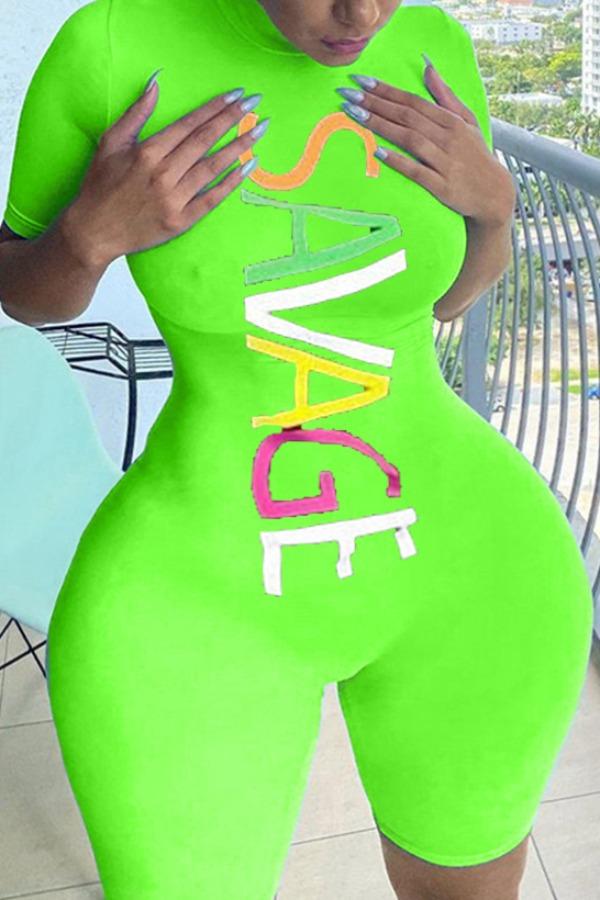 Plus Size Romper Lovely Sportswear Letter Print Green Plus Size One-piece Romper фото