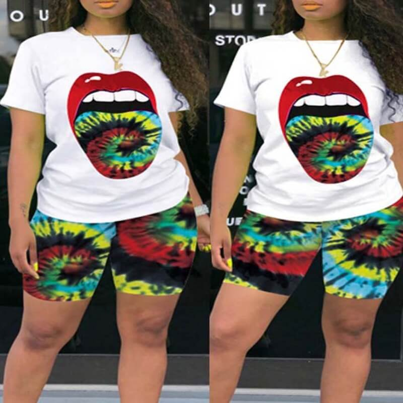 Lovely Leisure Print Green Plus Size Two-piece Shorts Set фото