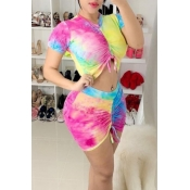 lovely Casual Tie-dye Print Pink Two-piece Skirt S