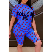 lovely Casual O Neck Dot Blue Two-piece Shorts Set