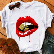 lovely Leisure O Neck Lip Print Red Plus Size T-sh