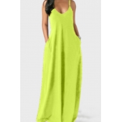 lovely Leisure Pocket Patched Green Maxi Dress