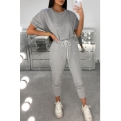 lovely Casual Sportswear O Neck Grey Two-piece Pan