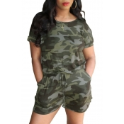 lovely Casual Camo Print Green One-piece Romper